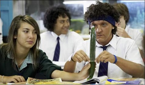 "Character 'Jonah Takalua' from Summer Heights High getting schooled in sex ""practicalities""."